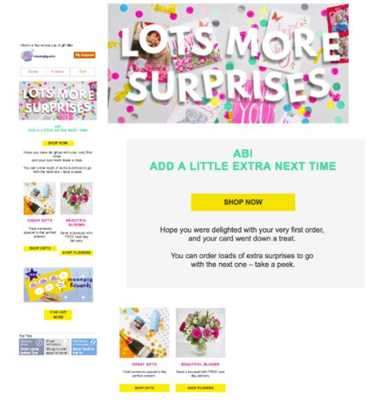 moonpig post purchase personalisation