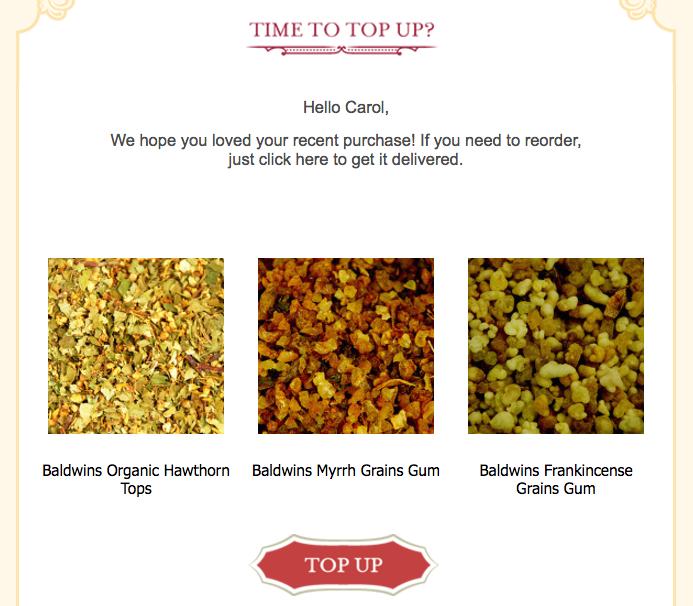 Baldwins ecommerce replenishment campaign segmented