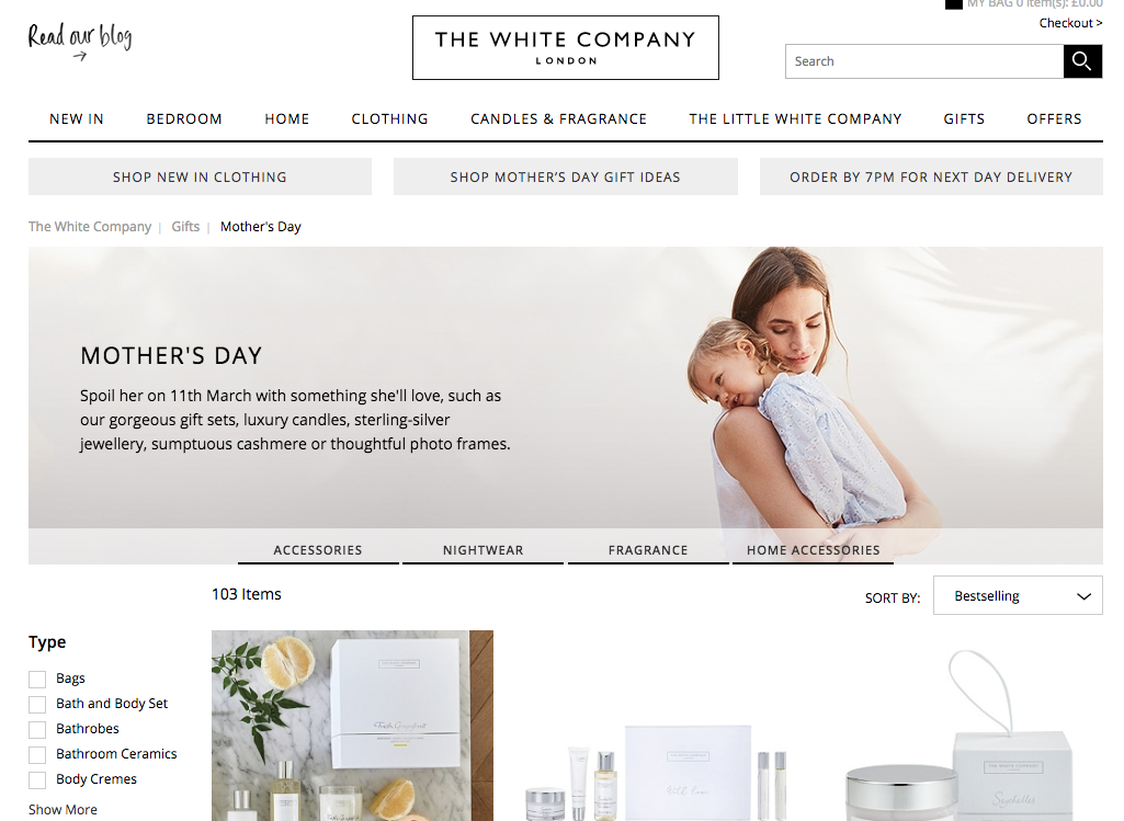 mother's day  marketing the white company