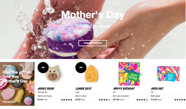 LUSH mother's day marketing