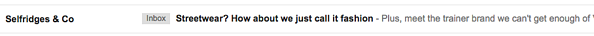 Selfridges preheader text promoting content inside email