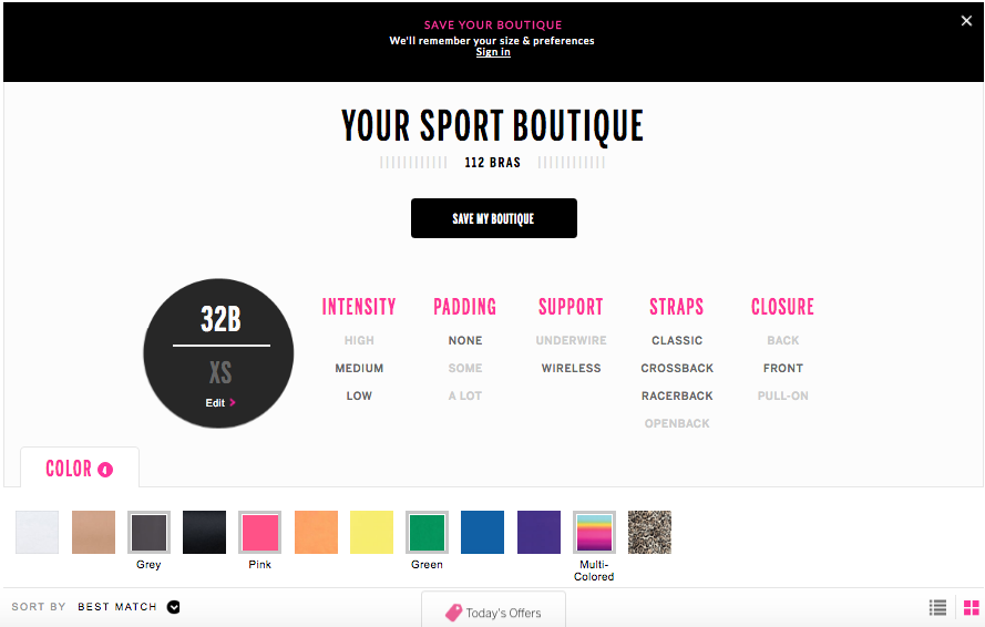 Victoria's Secret guided selling ecommerce