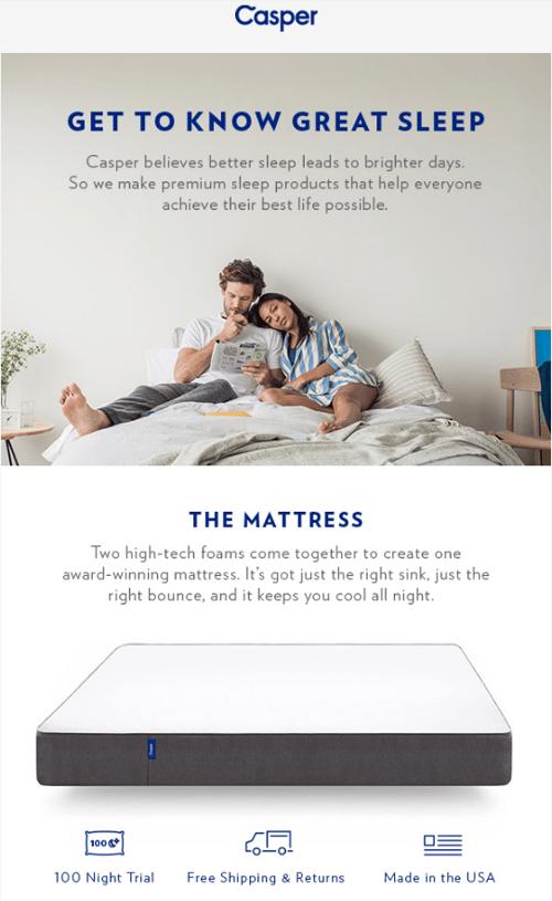 Casper online mattress company email marketing