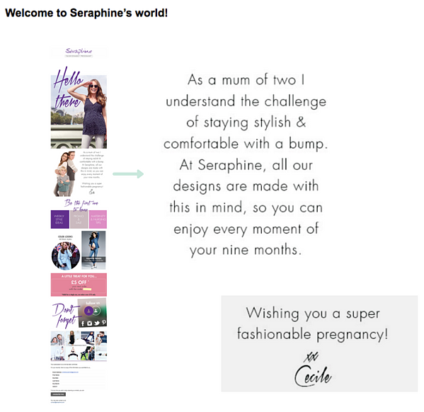 Seraphine welcome email