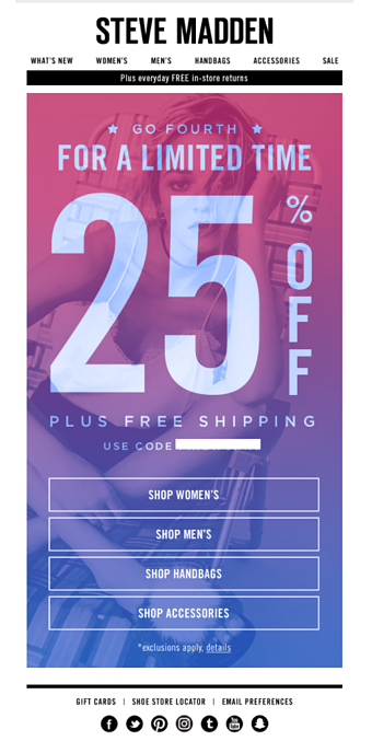 Steve Madden Fourth of july email