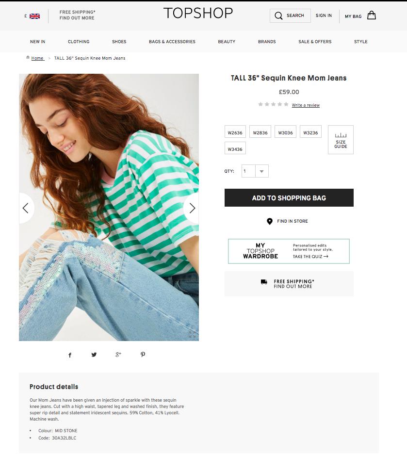 Topshop shoppable content