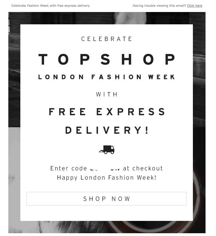 TOPSHOP ecommerce marketing LFW