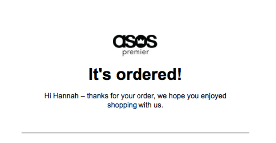 ASOS order confirmation email