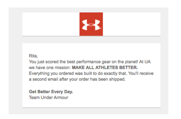 Under Armour order confirmatione mail