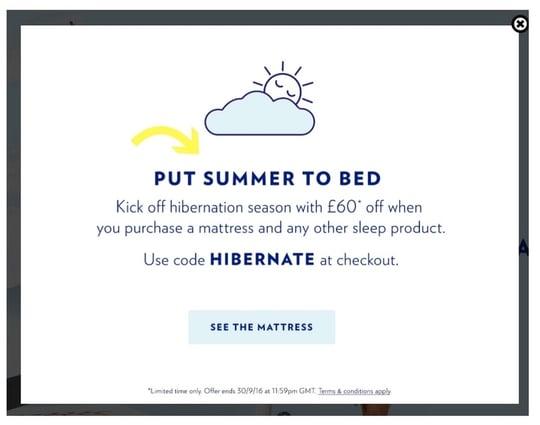 ecommerce pop up design from Casper