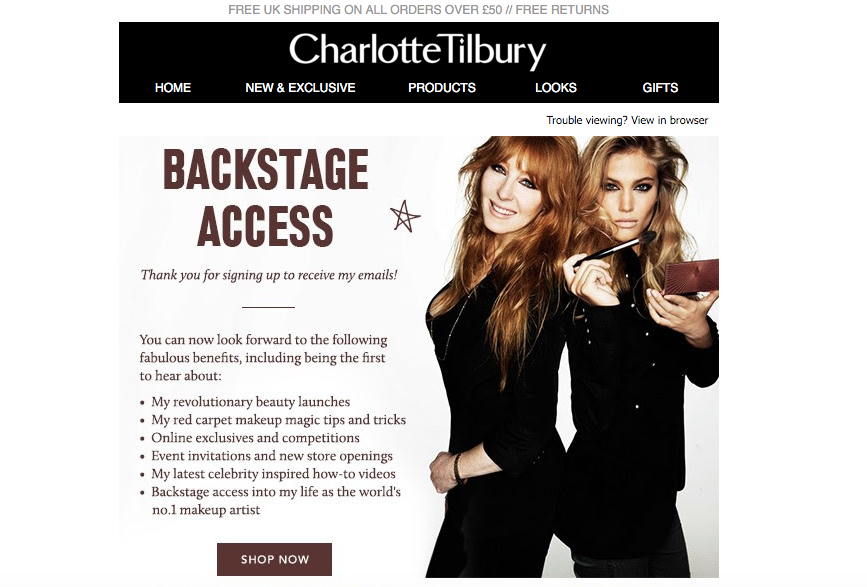 Charlotte Tilbury ecommerce welcome email
