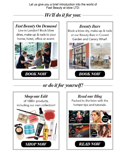 blow ltd customer experience welcome email