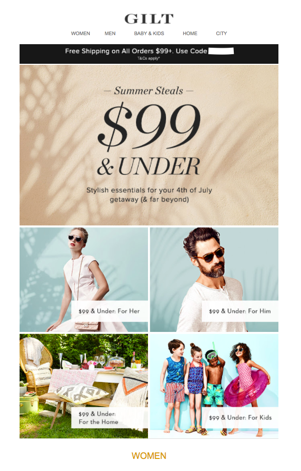 Gilt fourth july email marketing ecommerce