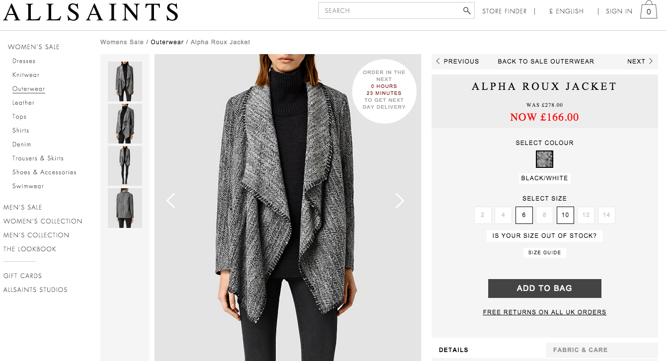 All Saints product page