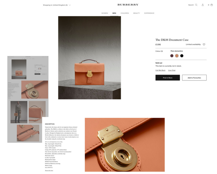 Burberry ecommerce product page