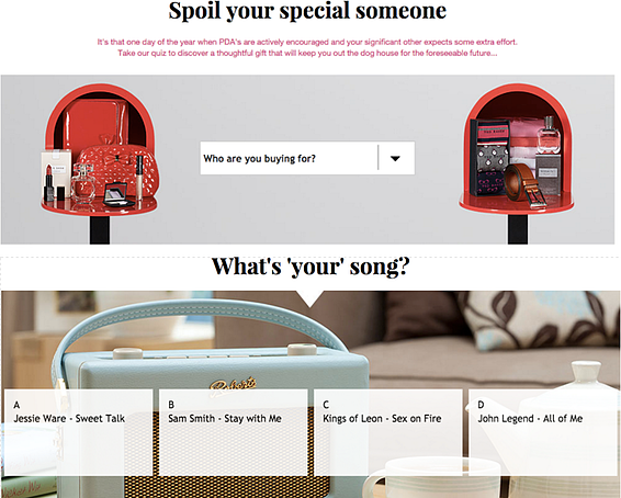 House of Fraser Valentine's Day quiz
