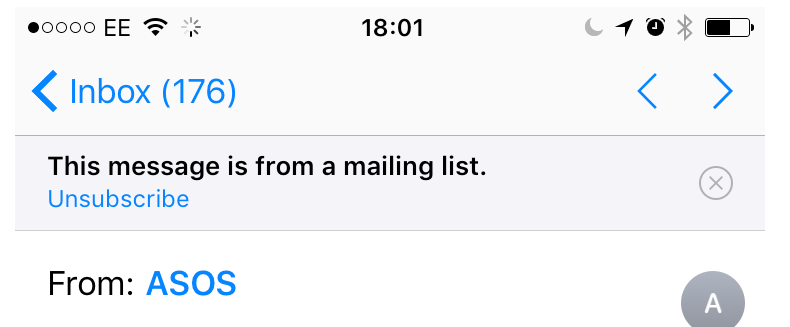 unsubscribe banner iOS10