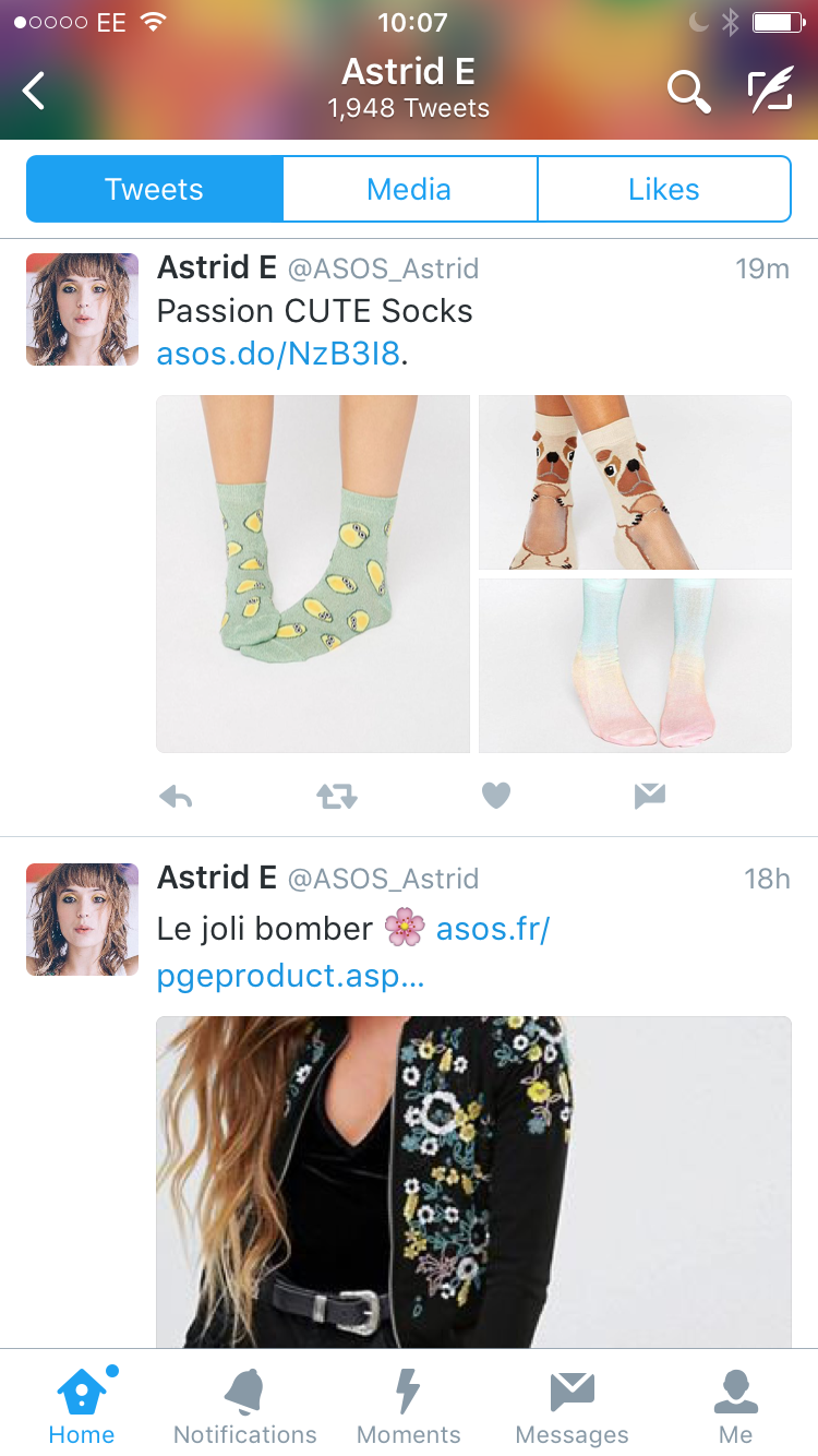 influencer marketing  _ ASOS marketing strategy _ ASOS Astrid Twitter