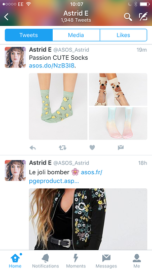 influencer marketing  _ ASOS marketing strategy _ ASOS Astrid Twitter