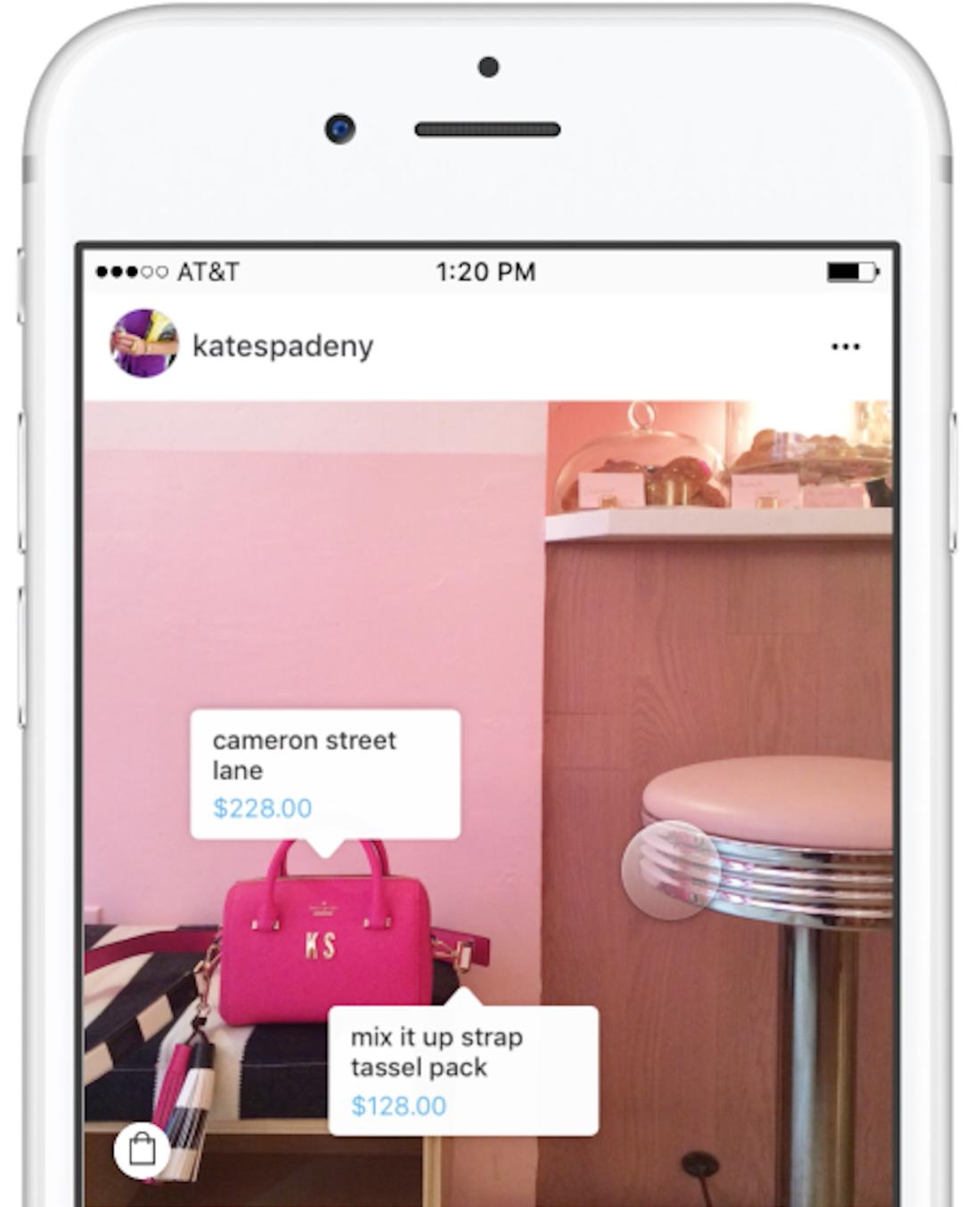 kate spade shoppable Instagram
