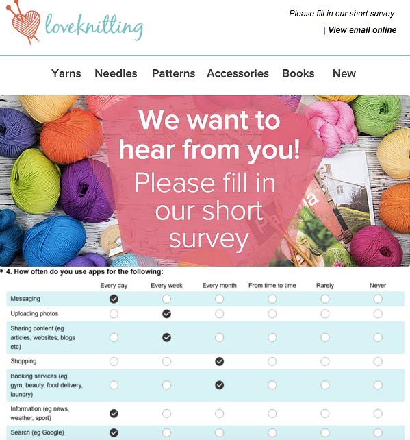 Love Knitting customer survey