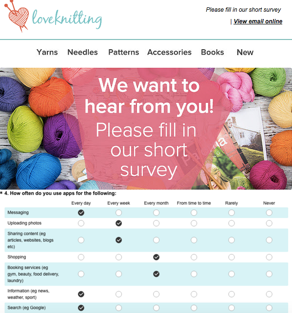 Love Knitting customer survey