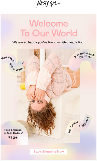 Nasty Gal welcome email