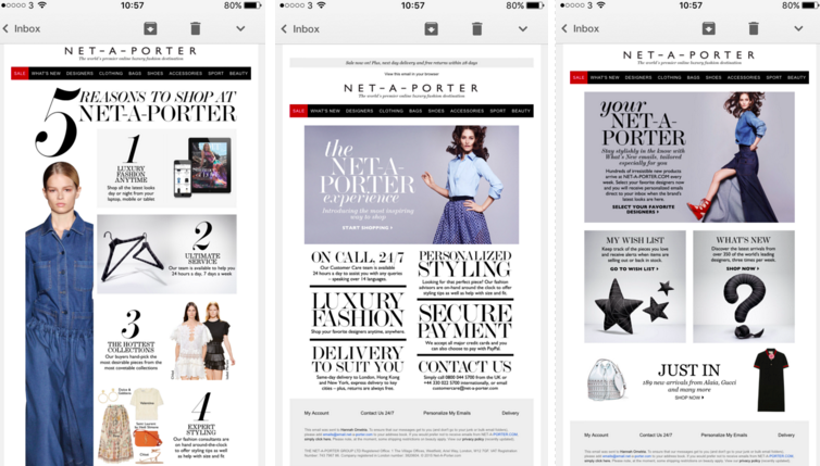 Net a porter welcome series mobile optimisation