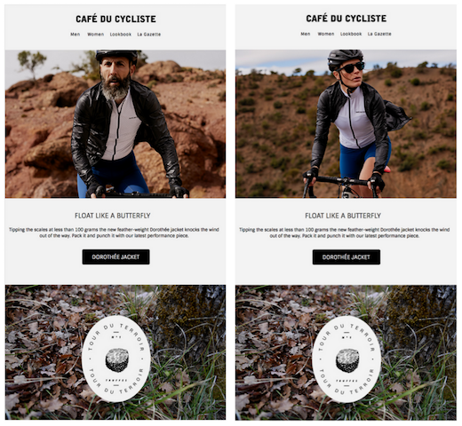 personalised newsletter from cafe de cycliste