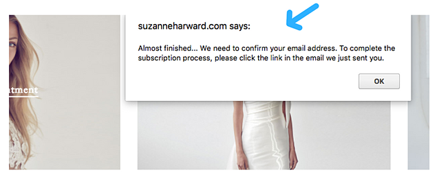popup confirmation double opt-in Suzanne Harward