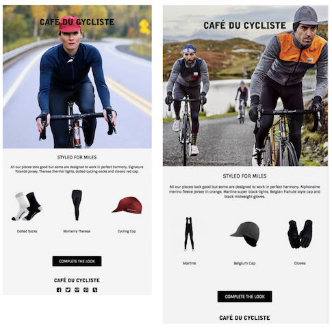 Post purchase campaign from cafe du cycliste