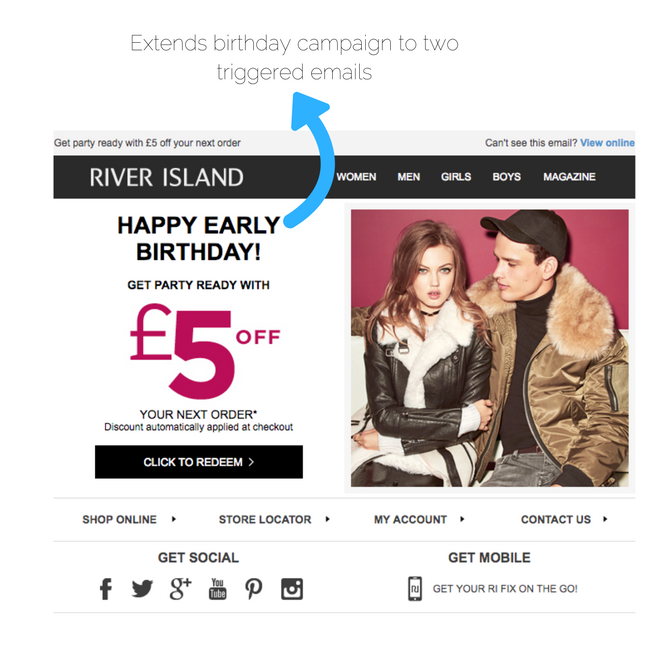 river island early birthday email