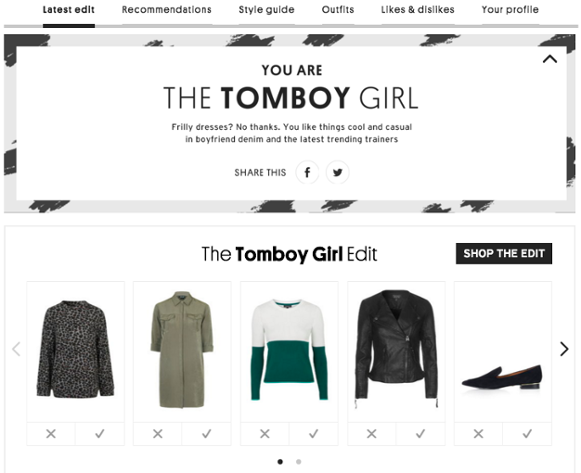 Topshop guided selling ecommerce